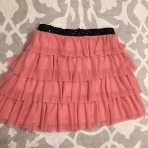 Pink Ruffle Skirt with Sequins